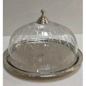 szklana patera z okrągłą...