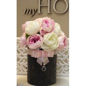 Flower box z peoniami