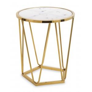 złoty stolik z marmurem